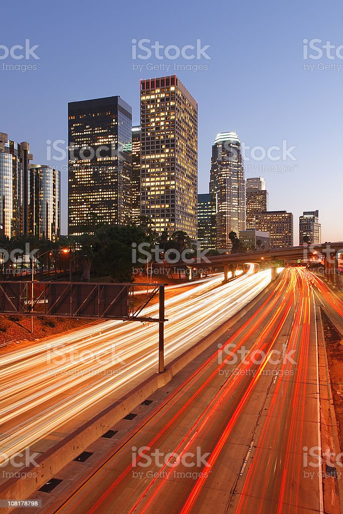 Los Angeles Skyline at Dusk, Motion Blur of Cars royalty-free stock photo