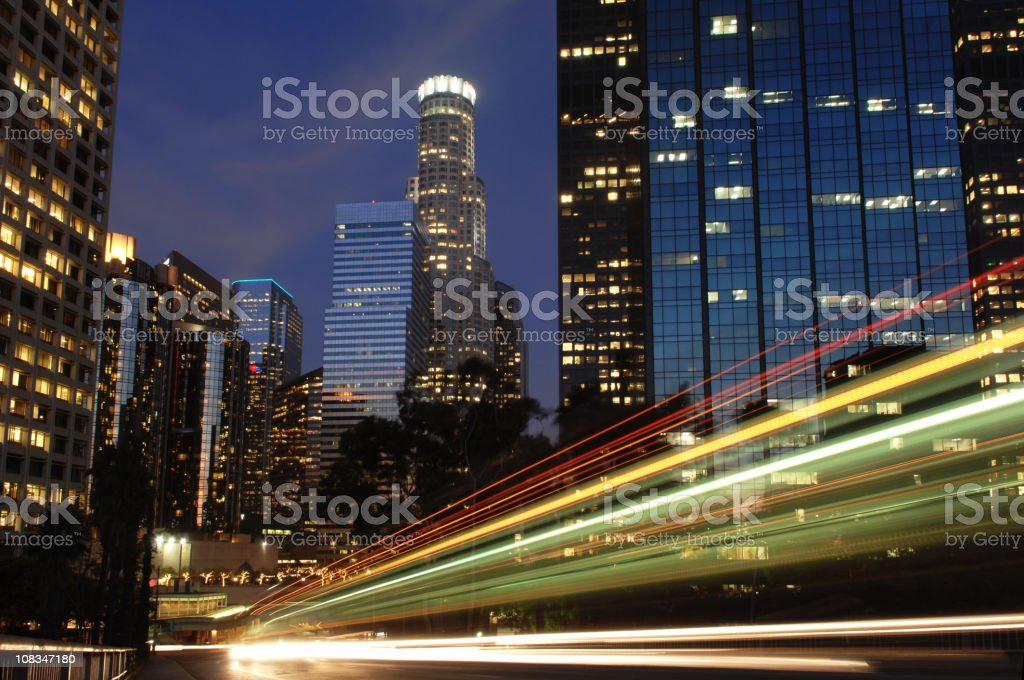 Los Angeles Skyline at Night royalty-free stock photo