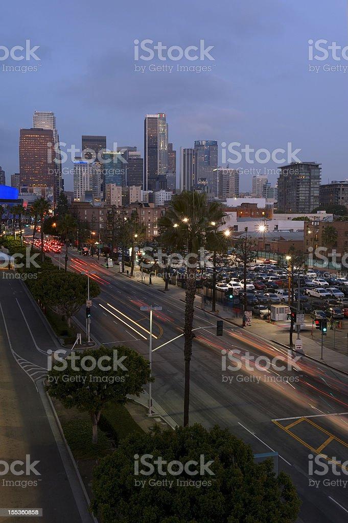 Los Angeles skyline at night royalty-free stock photo