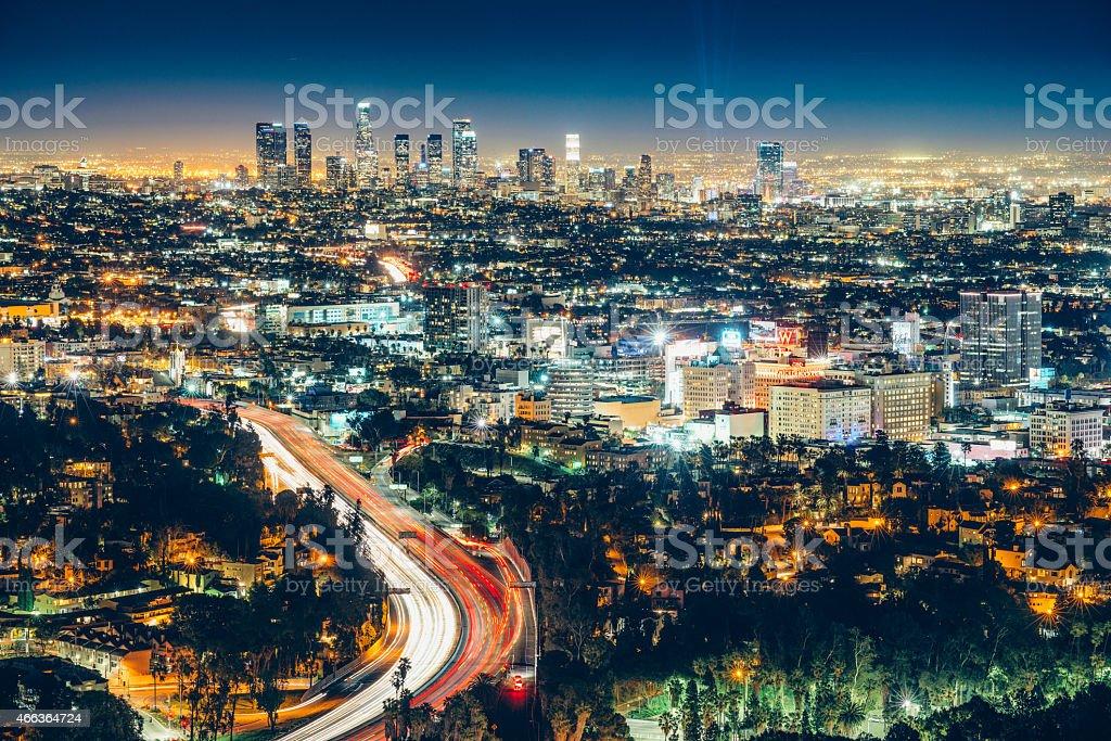 Los Angeles Skyline at Night stock photo
