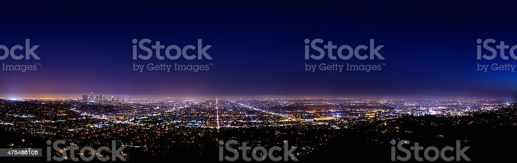 Los Angeles skyline at night stock photo