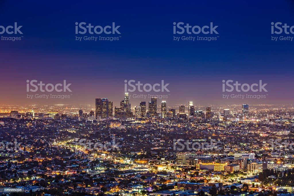 Los Angeles skyline by night, California, USA stock photo
