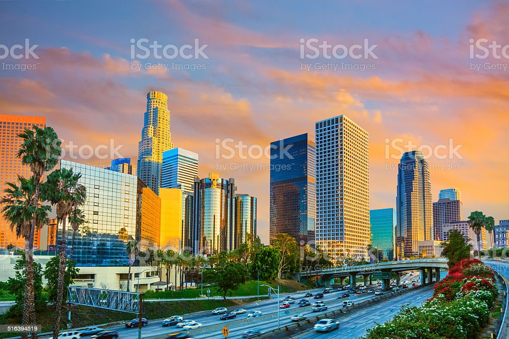Los Angeles skyline, CA stock photo
