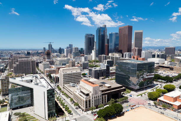 Los Angeles Skyline, Financial District, Aerial View, California stock photo
