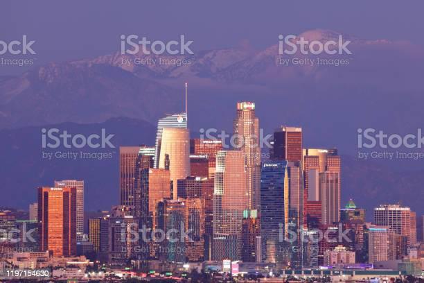 Los Angeles Skyline Night Stock Photo - Download Image Now