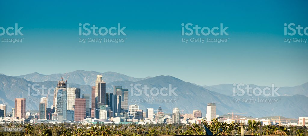Los angeles skyline of the city stock photo