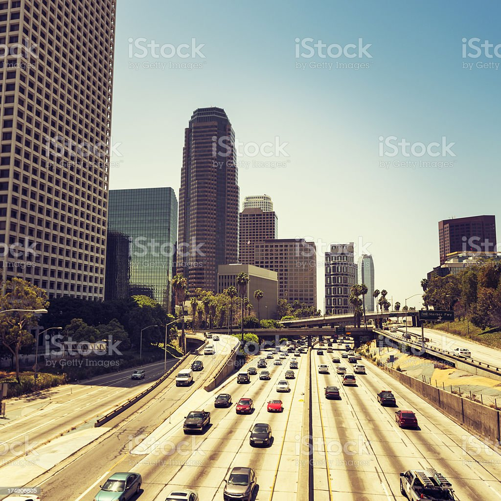Los angeles skyline of the city with traffic royalty-free stock photo