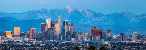 los angeles skyline panaorma - downtown stock photos and pictures