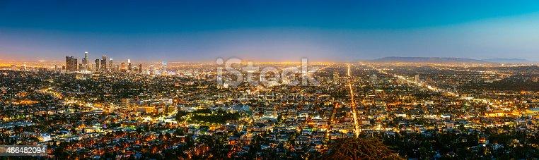 Los Angeles Skyline Panorama at Dusk, California