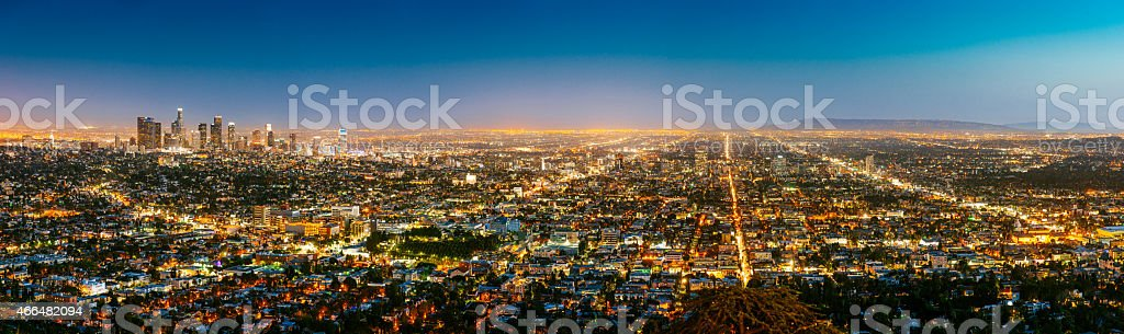Los Angeles Skyline Panorama at Dusk stock photo
