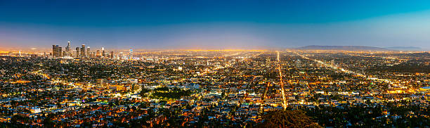 Los Angeles Skyline Panorama at Dusk Los Angeles Skyline Panorama at Dusk, California hollywood boulevard stock pictures, royalty-free photos & images
