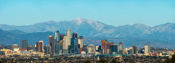 Los Angeles Skyline Panorama Panoramic view of Los Angeles downtown mount baldy stock pictures, royalty-free photos & images