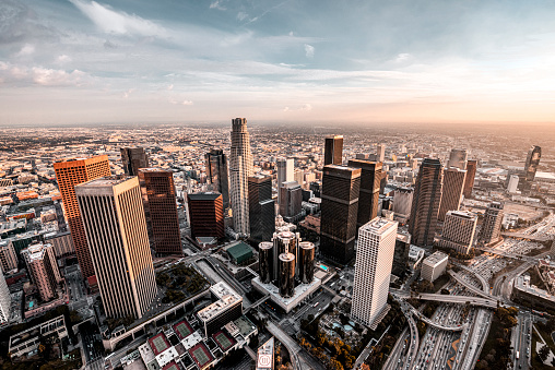 Beautiful view at Downtown Los Angeles during the helicopter flight at sunset.