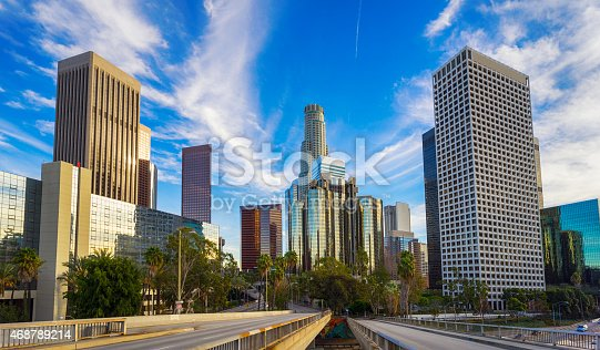 Los Angeles city financial district skyline