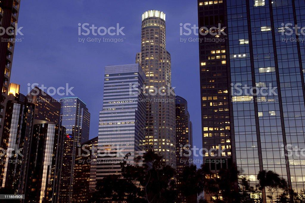 Los Angeles Skyline Reflecting Sunset royalty-free stock photo