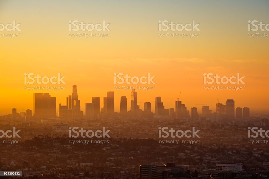 Los Angeles skyline viewed from Griffith observatory at sunrise stock photo