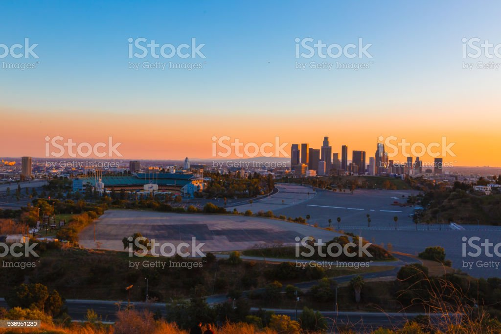 Los Angeles skyline with dramatic sky stock photo