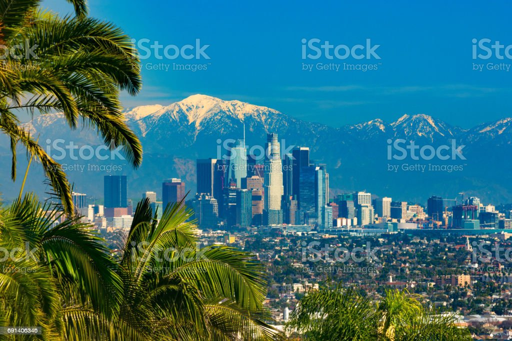 Los Angeles Skyline with Snow-capped Mountains, Framed with Tropical-like Palm Trees stock photo