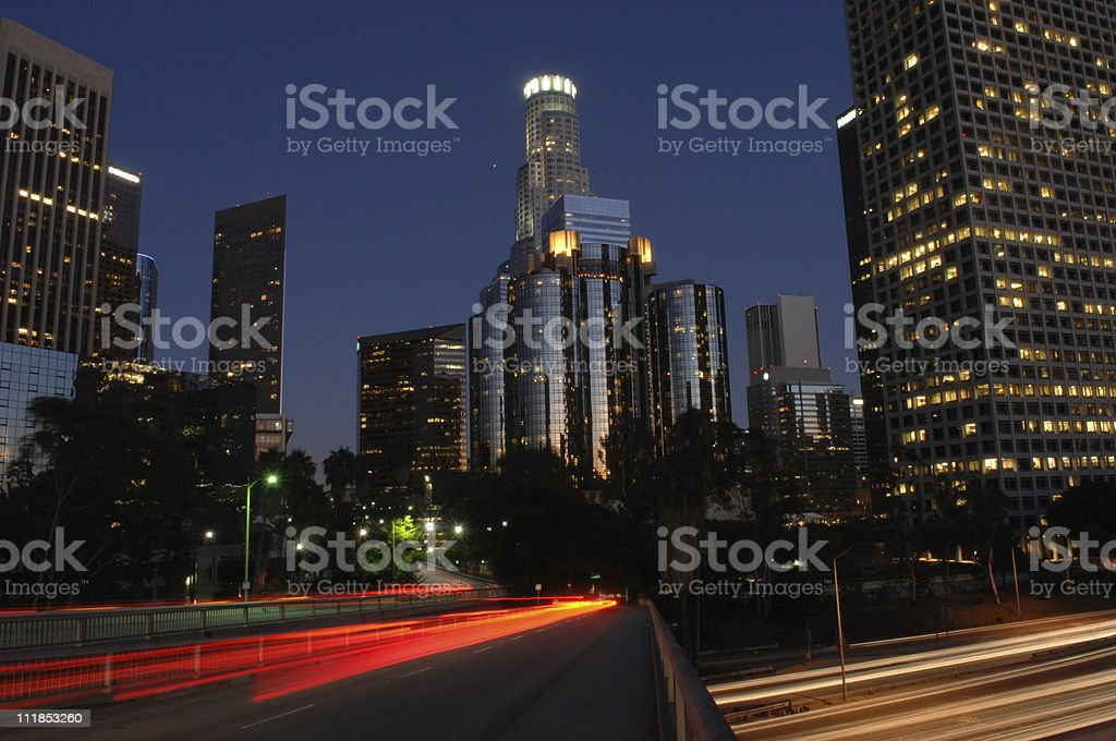 Los Angeles Skyscrapers and streaking headlights at night royalty-free stock photo