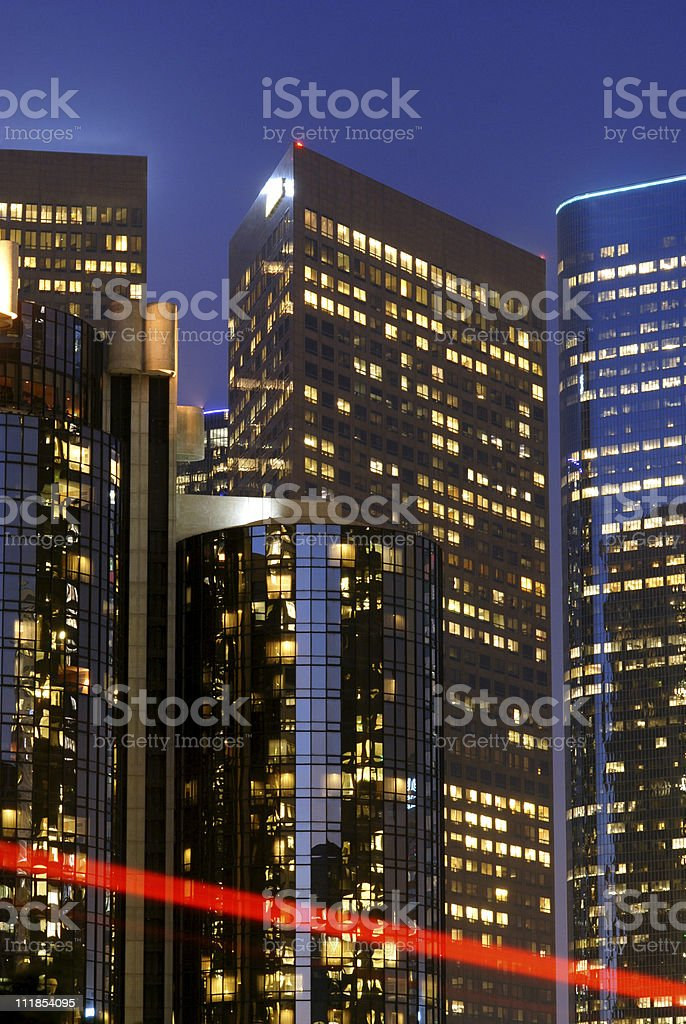 Los Angeles Skyscrapers at Night with Red Stripe royalty-free stock photo