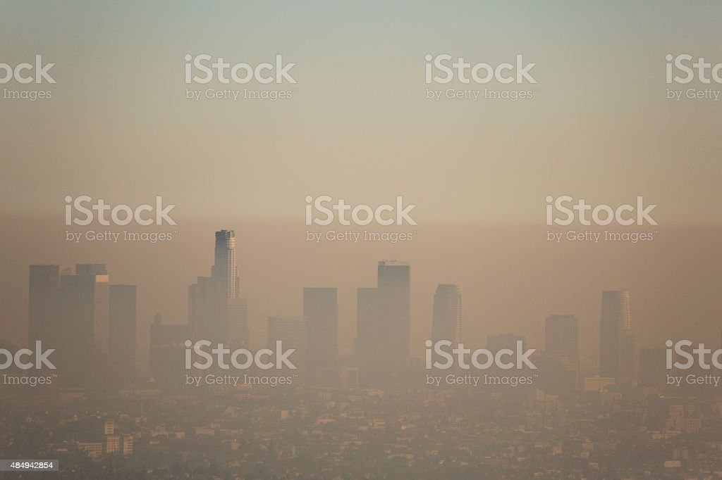 Los Angeles Smog Downtown Los Angeles covered in a layer of smog. 2015 Stock Photo