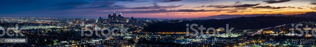 Los Angeles Sprawl at Dusk - Aerial Panorama stock photo