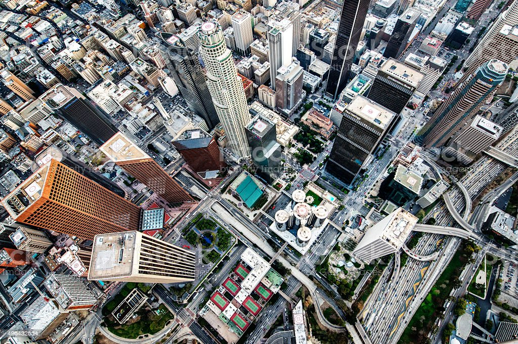 Los Angeles streets - view from the sky stock photo