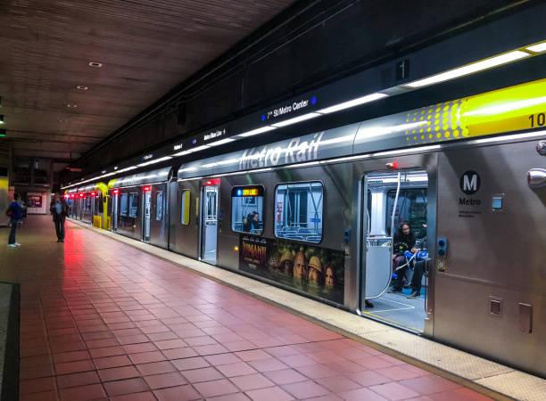 Los Angeles Subway station platform, California, USA stock photo