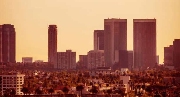 Los Angeles sunset, Century City stock photo