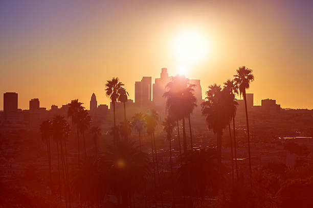 los angeles sunset - san fernando valley stock photos and pictures