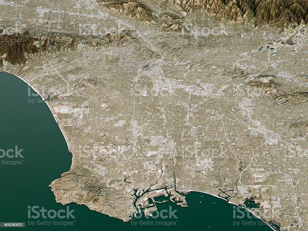 Los Angeles Topographic Map D Landscape View Natural Color Stock - Los angeles topographic map