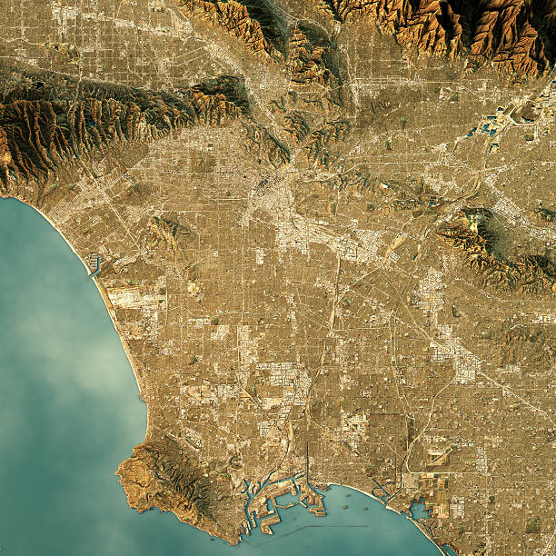 los angeles topographic map natural color top view - 지형학 뉴스 사진 이미지