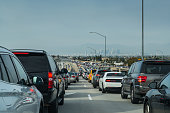 Traffic jam at a complete standstill on the 110 Freeway traveling from LAX towards downtown around 2 pm on Sunday.