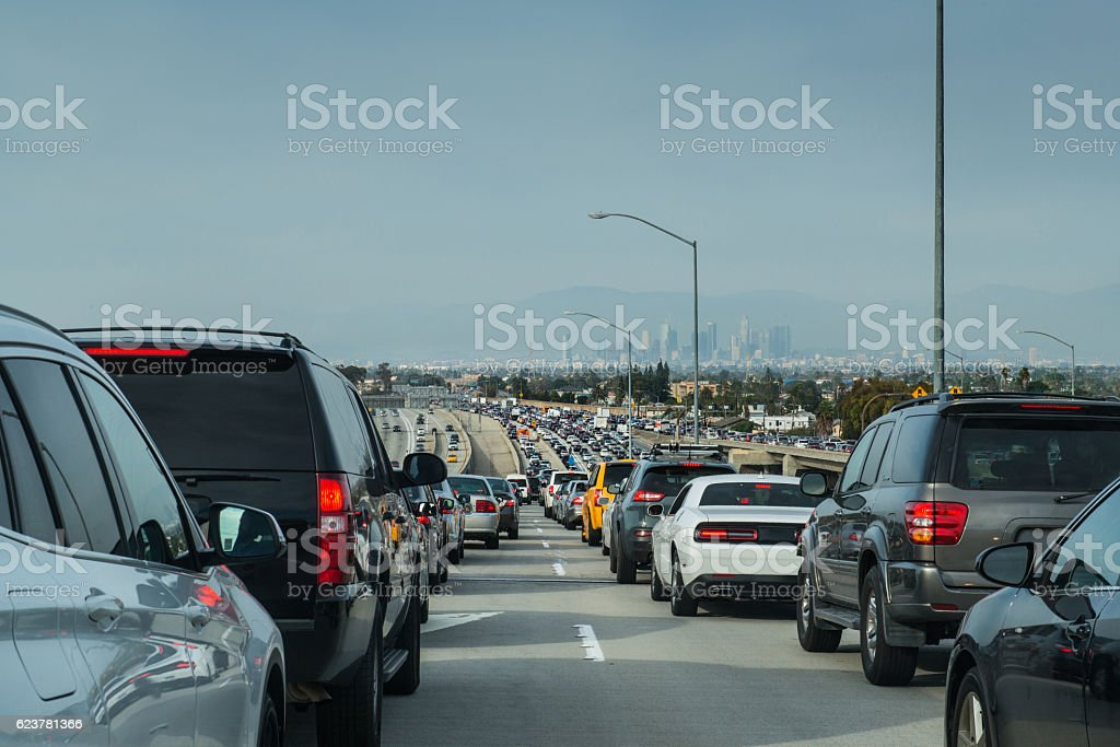 Los Angeles Traffic Jam Overlooking Downtown Skyline stock photo