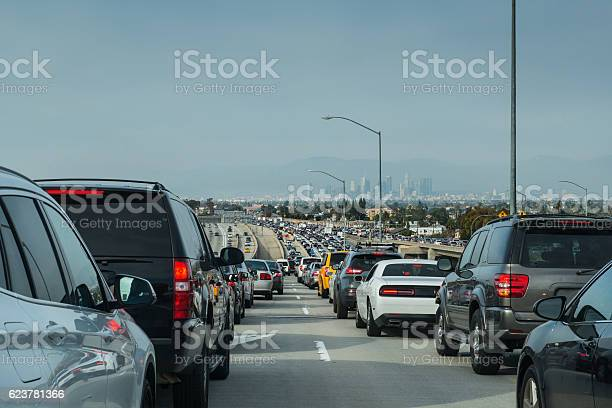 Los Angeles Traffic Jam Overlooking Downtown Skyline