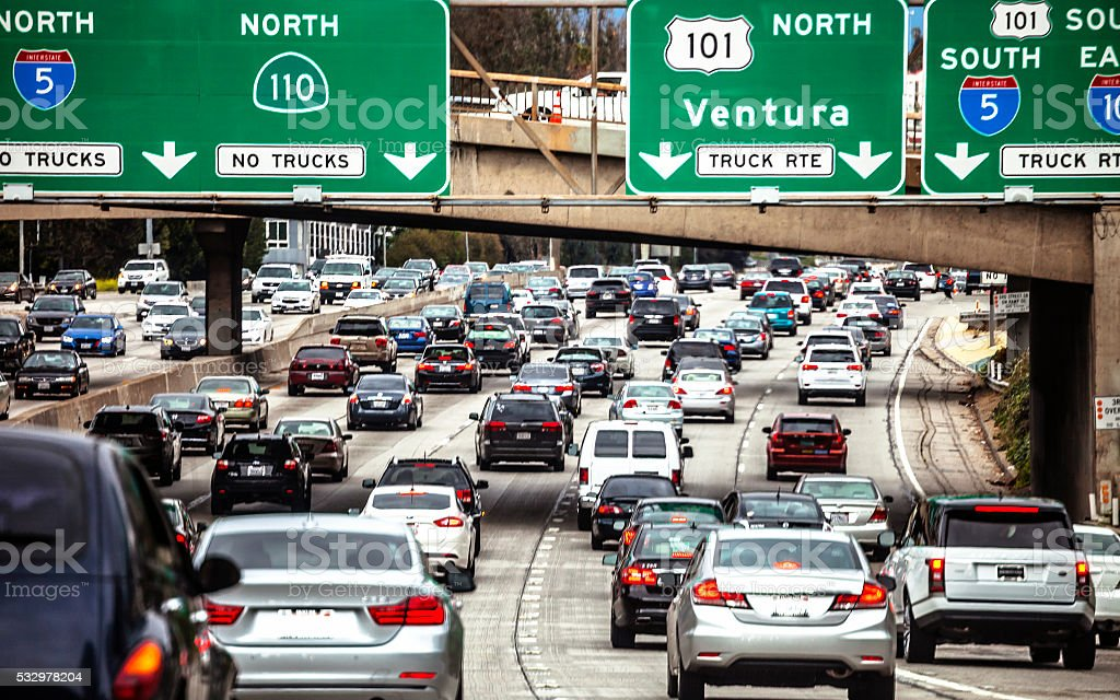 Los Angeles traffic. stock photo
