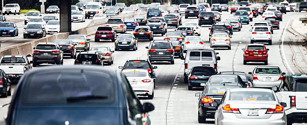 los angeles traffic. - traffic stock photos and pictures