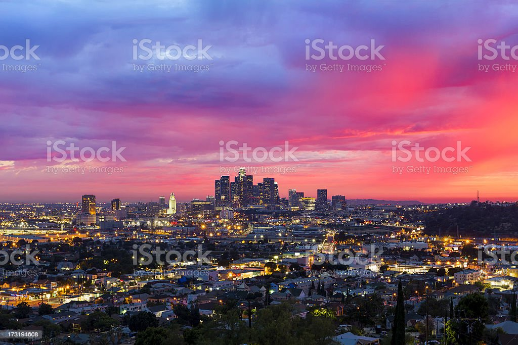 Los Angeles Under a Dramatic Sunset royalty-free stock photo