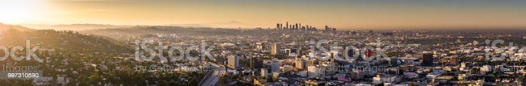 Los Angeles Urban Sprawl - Aerial Panorama stock photo
