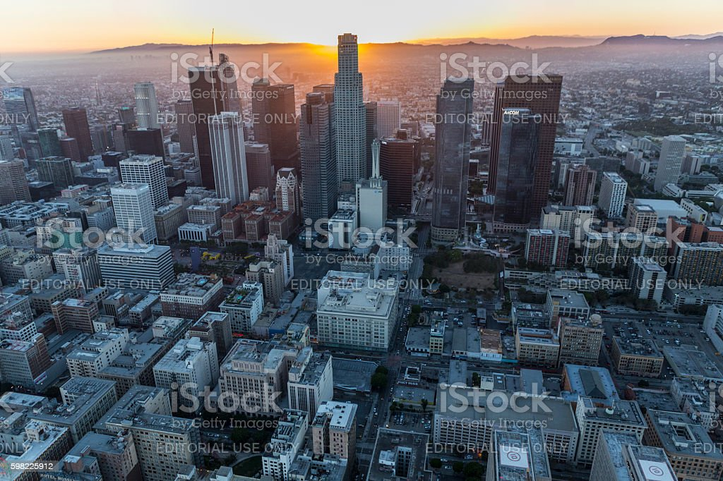 Los Angeles Urban Sunset Aerial foto royalty-free