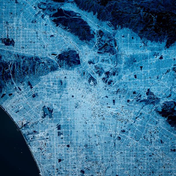 Los Angeles USA 3D Render Karte Blau Top Ansicht Mär 2019 – Foto