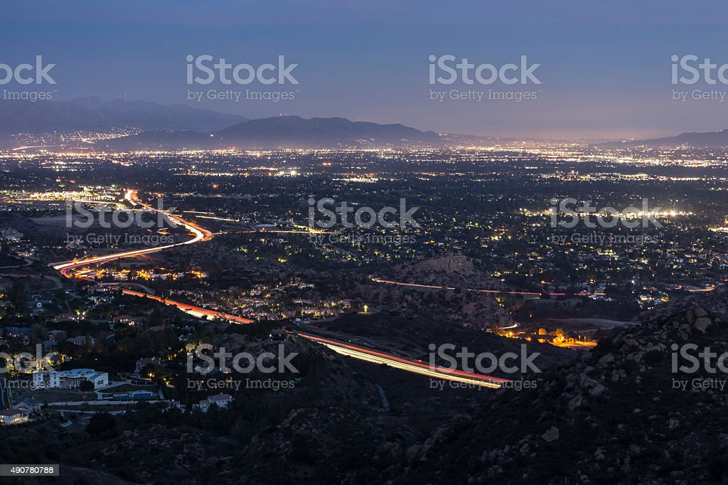 Los Angeles Valley Night stock photo