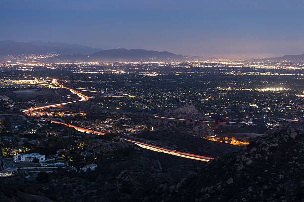 los angeles valley night - san fernando valley stock photos and pictures