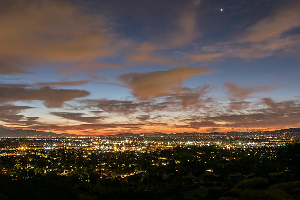 los angeles winter sunrise - san fernando valley stock photos and pictures