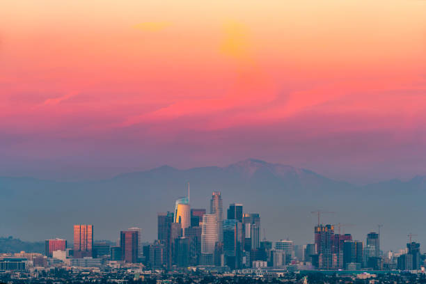 Los Angeles with Red Sky Los Angeles with red color sky after sunset mount baldy stock pictures, royalty-free photos & images