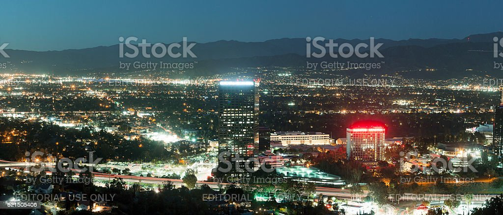 Los Angles skyline- Universal City, North Hollywood and Burbank stock photo