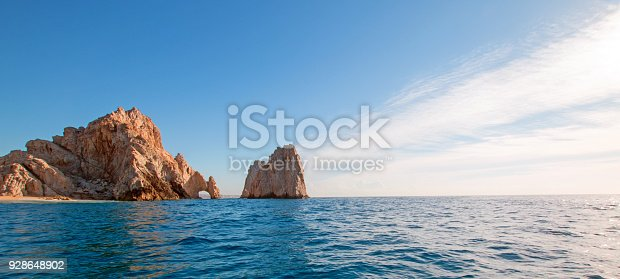 Los Arcos / The Arch at Lands End as seen from the Pacific Ocean at Cabo San Lucas in Baja California Mexico BCS