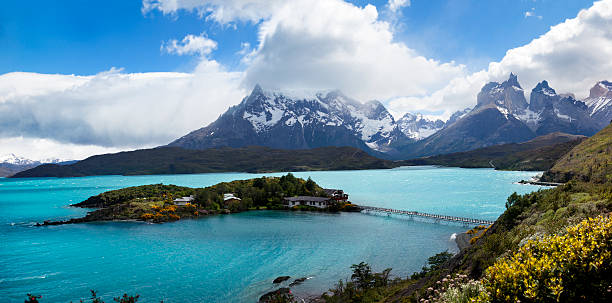los cuernos, las torres national park, chile - natural landmark stock pictures, royalty-free photos & images