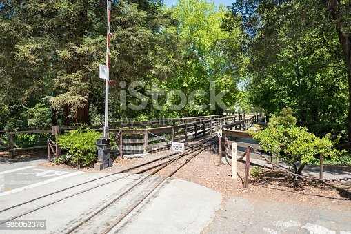 Los Gatos, California, United States - May 30, 2018:  Tracks of the Billy Jones Wildcat Railroad, a miniature small gauge railroad at Oak Meadow Park, a public park in the Silicon Valley, Los Gatos, California, May 30, 2018