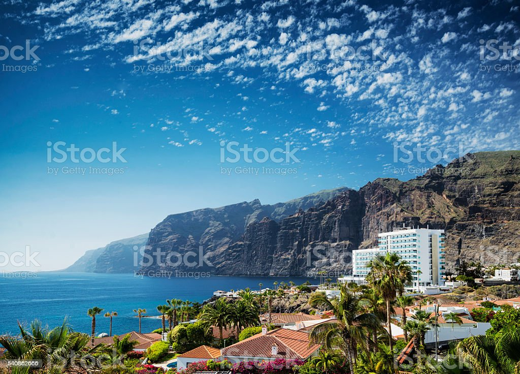 los gigantes cliffs landmark in south tenerife island spain stock photo